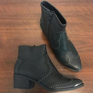 NWOT - Target black studded ankle heeled booties 6
